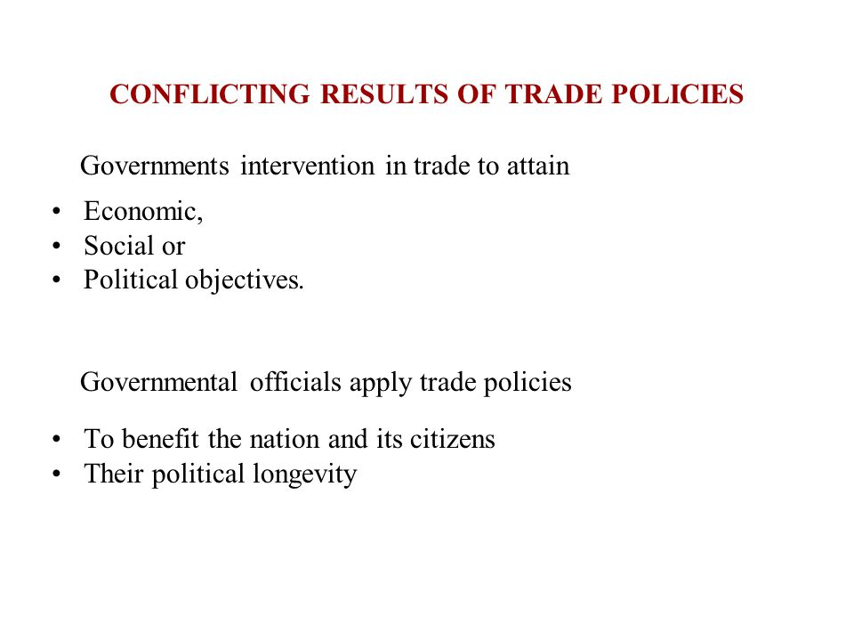 CONFLICTING RESULTS OF TRADE POLICIES