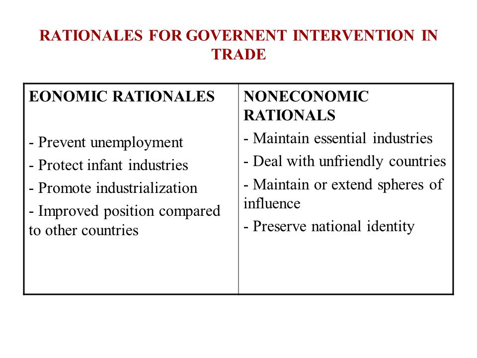 RATIONALES FOR GOVERNENT INTERVENTION IN TRADE