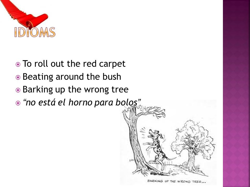 Idioms To roll out the red carpet Beating around the bush