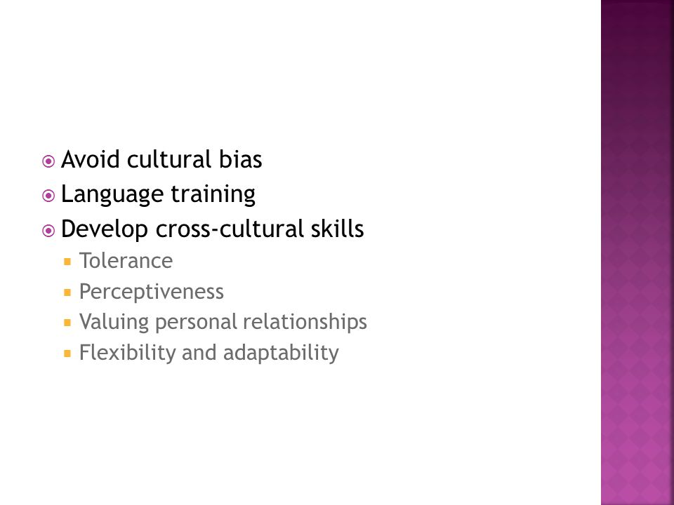 Develop cross-cultural skills