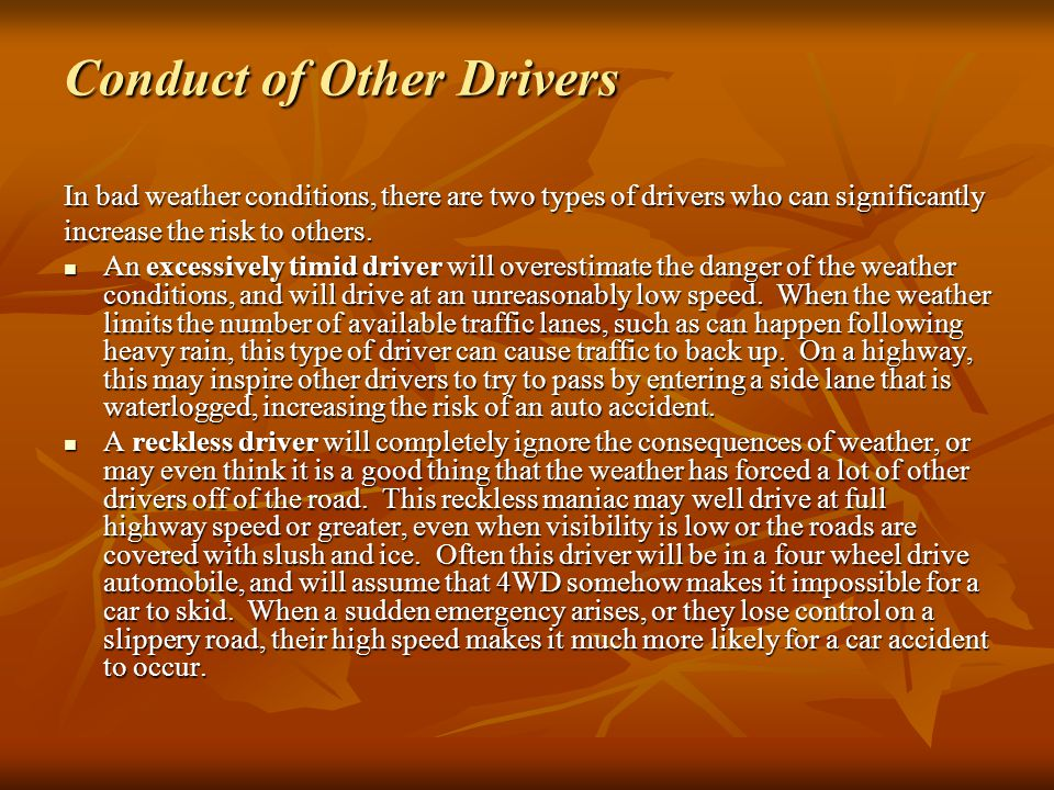 Conduct of Other Drivers