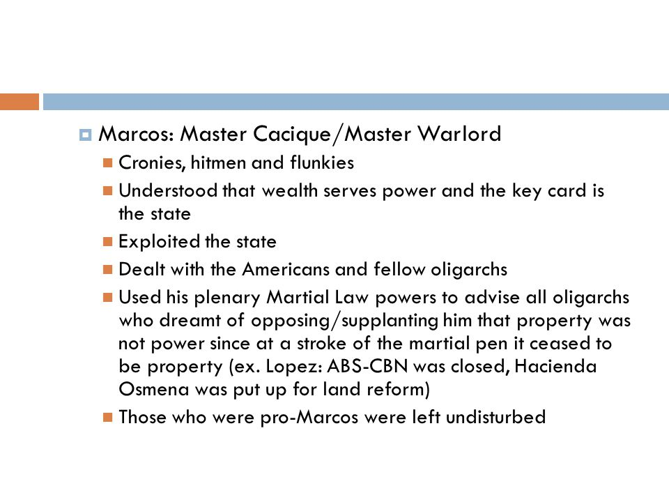 Marcos: Master Cacique/Master Warlord