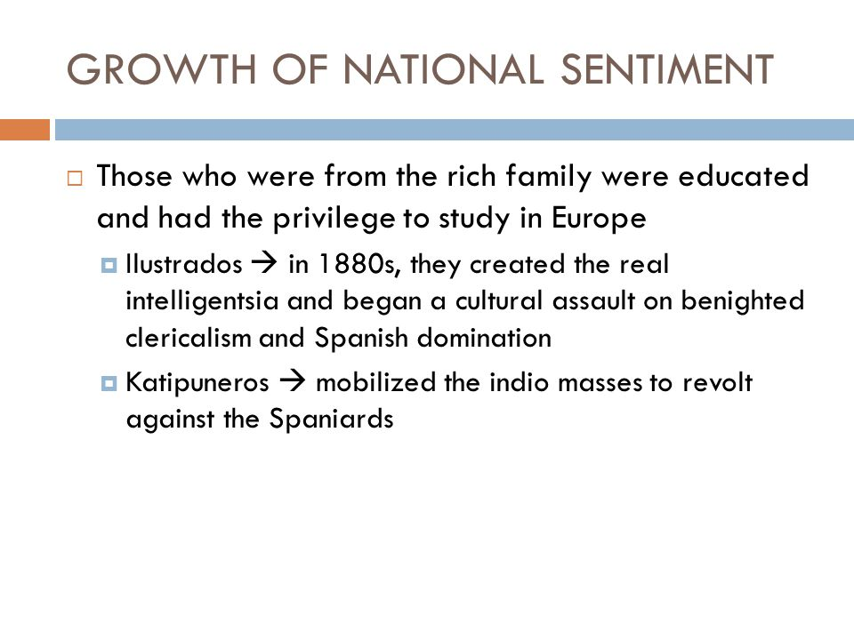 GROWTH OF NATIONAL SENTIMENT