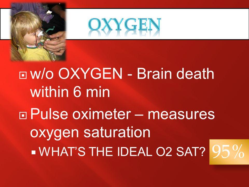95% OXYGEN w/o OXYGEN - Brain death within 6 min