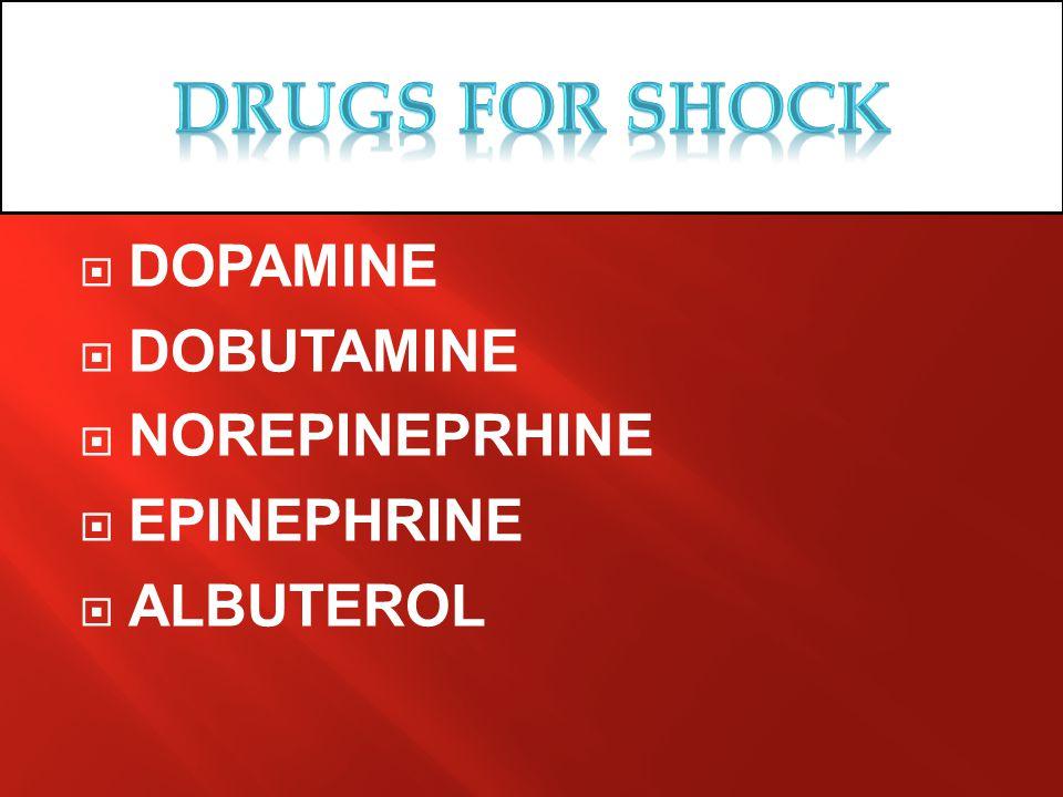 Drugs for SHOCK DOPAMINE DOBUTAMINE NOREPINEPRHINE EPINEPHRINE