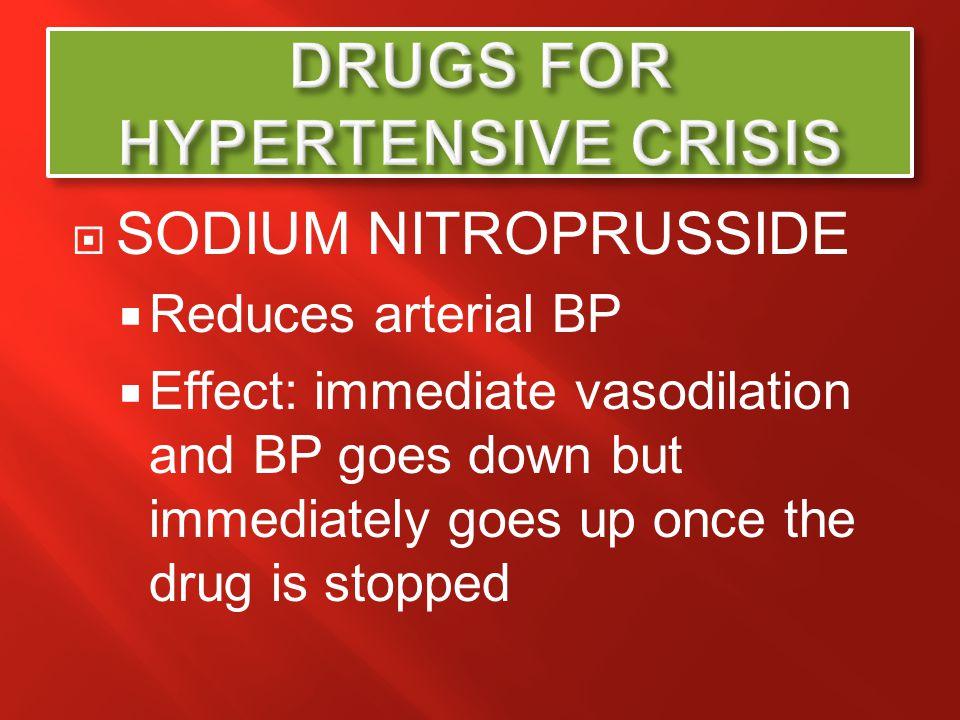 DRUGS FOR HYPERTENSIVE CRISIS