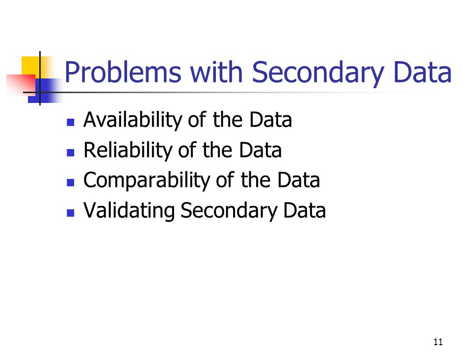 Problems with Secondary Data