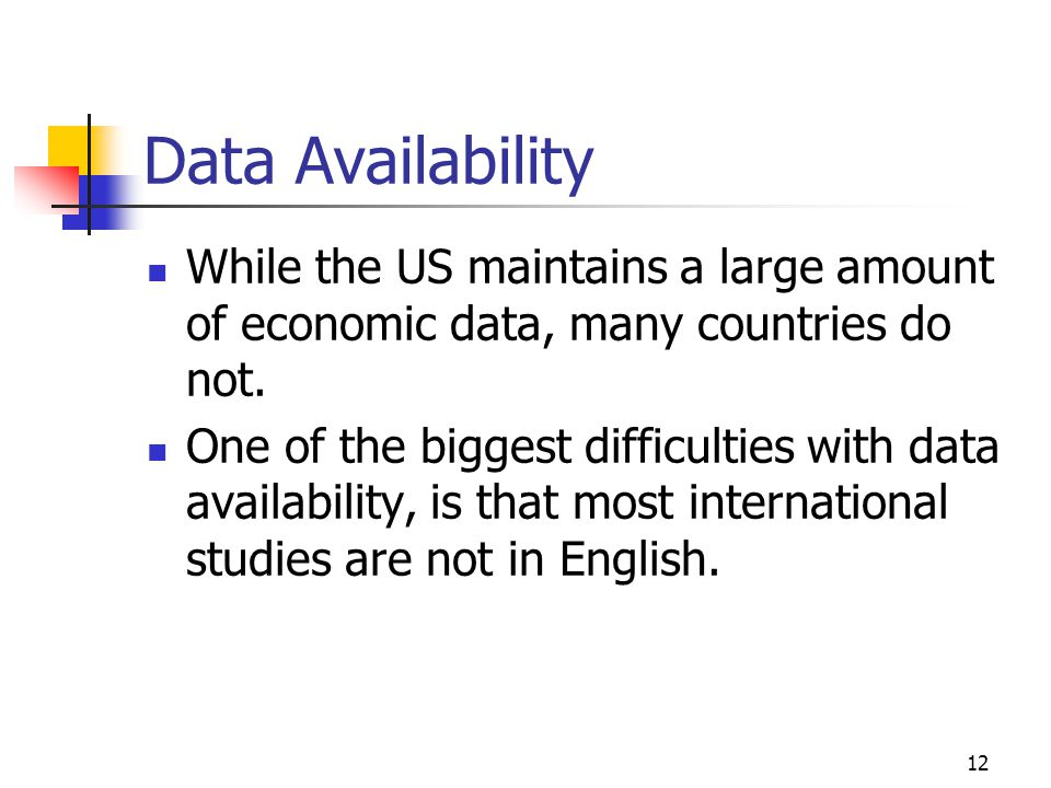 Data Availability While the US maintains a large amount of economic data, many countries do not.