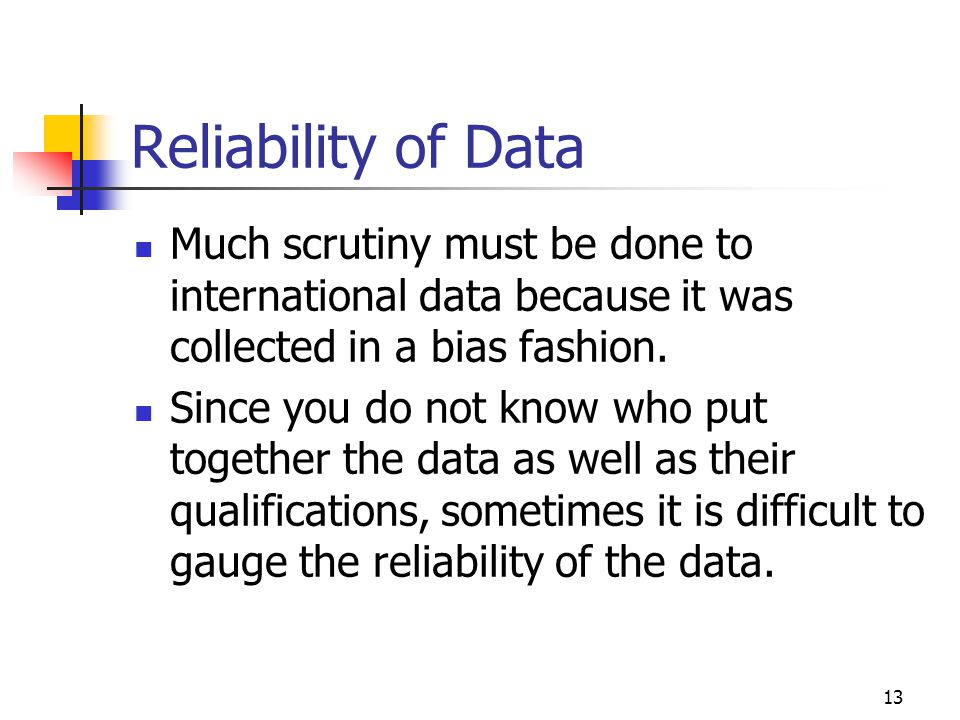 Reliability of Data Much scrutiny must be done to international data because it was collected in a bias fashion.