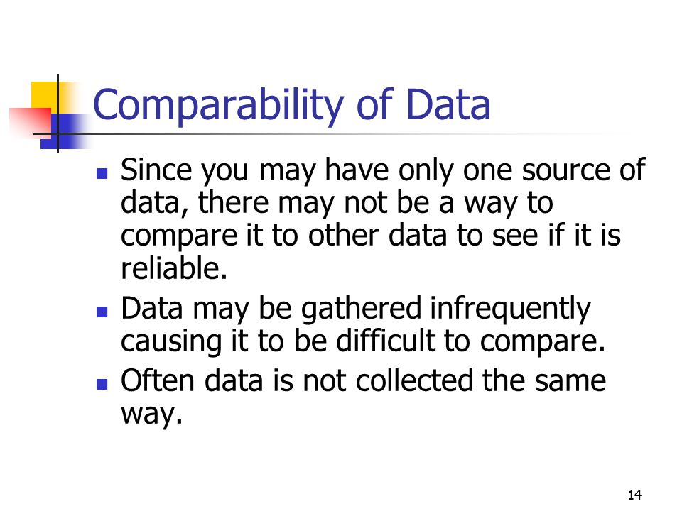 Comparability of Data Since you may have only one source of data, there may not be a way to compare it to other data to see if it is reliable.