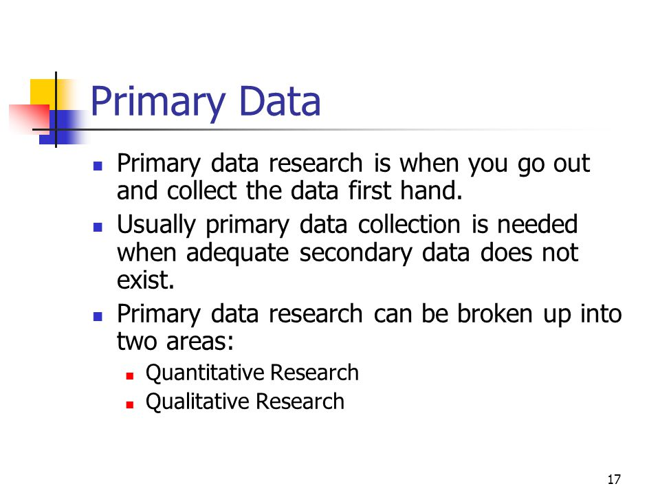 primary data in research This part of our extensive principles of marketing tutorials looks at the second part of the steps involved in carrying our market research including secondary data.