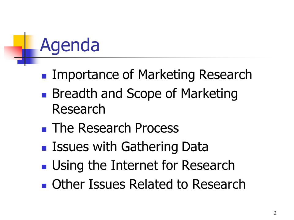 Agenda Importance of Marketing Research