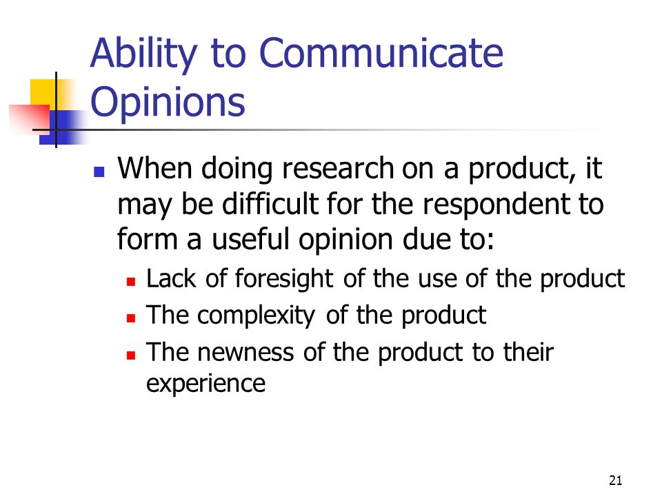 Ability to Communicate Opinions