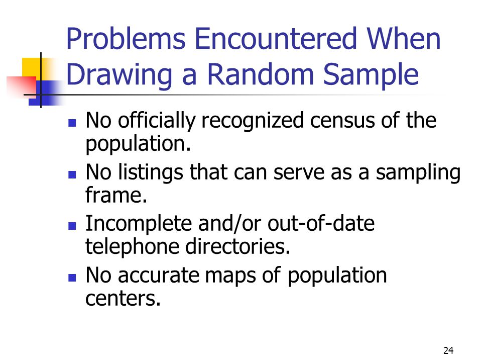 Problems Encountered When Drawing a Random Sample