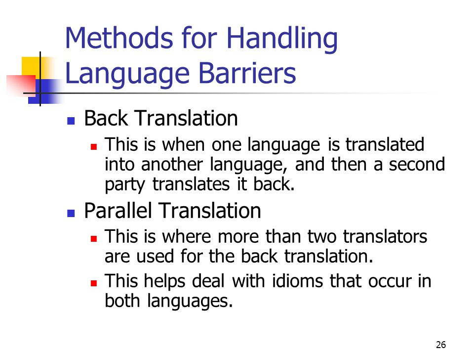 Methods for Handling Language Barriers
