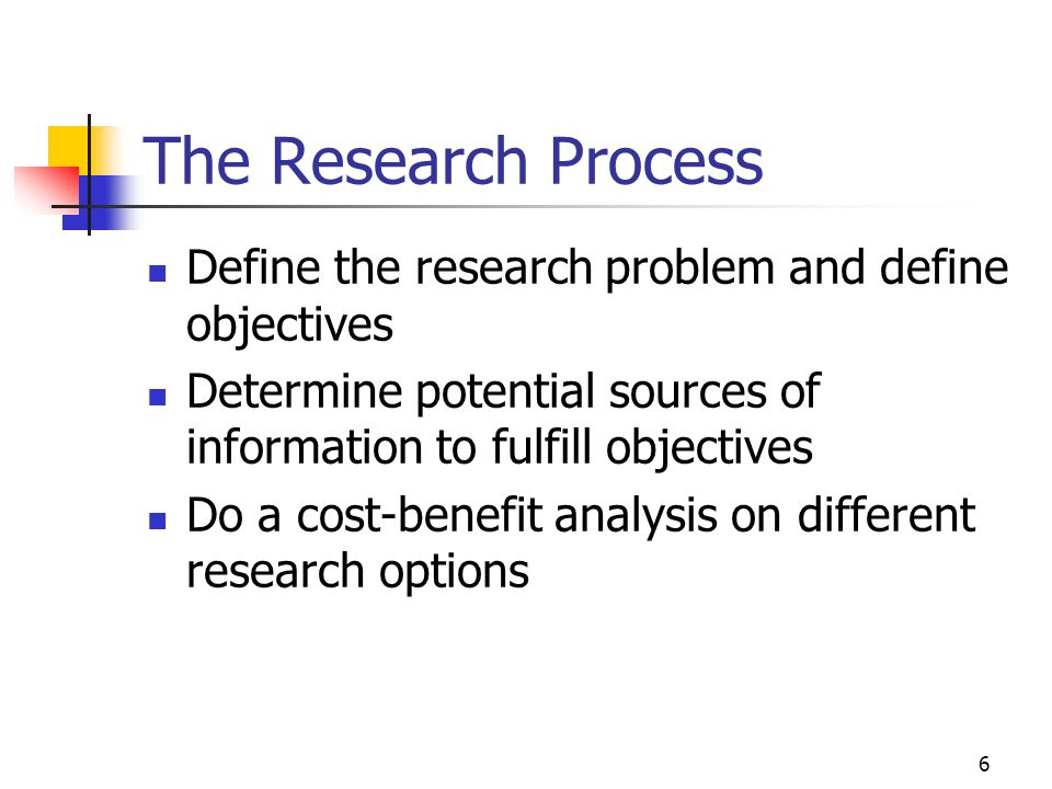 The Research Process Define the research problem and define objectives