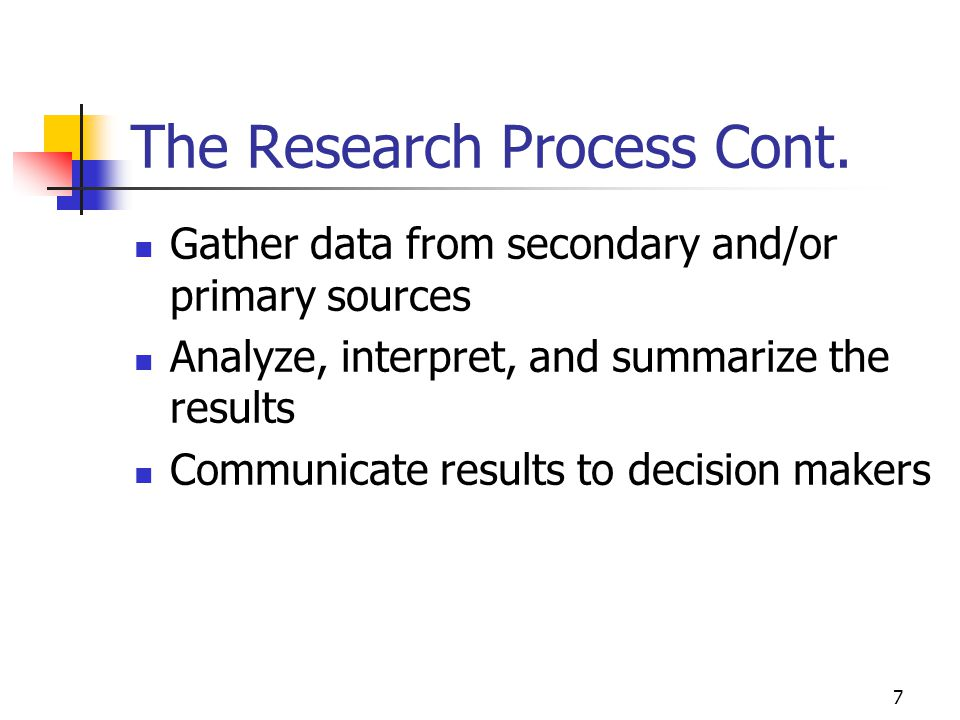 The Research Process Cont.