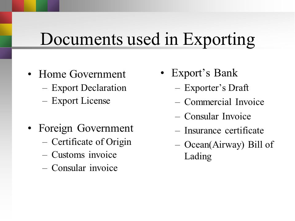 Documents used in Exporting