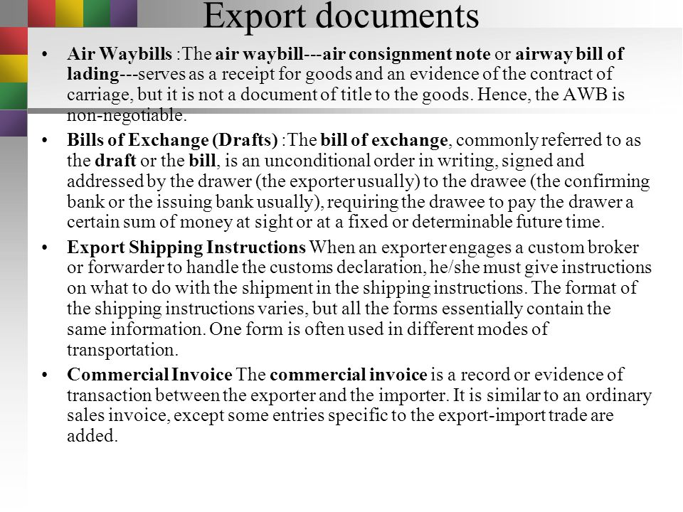 Export documents