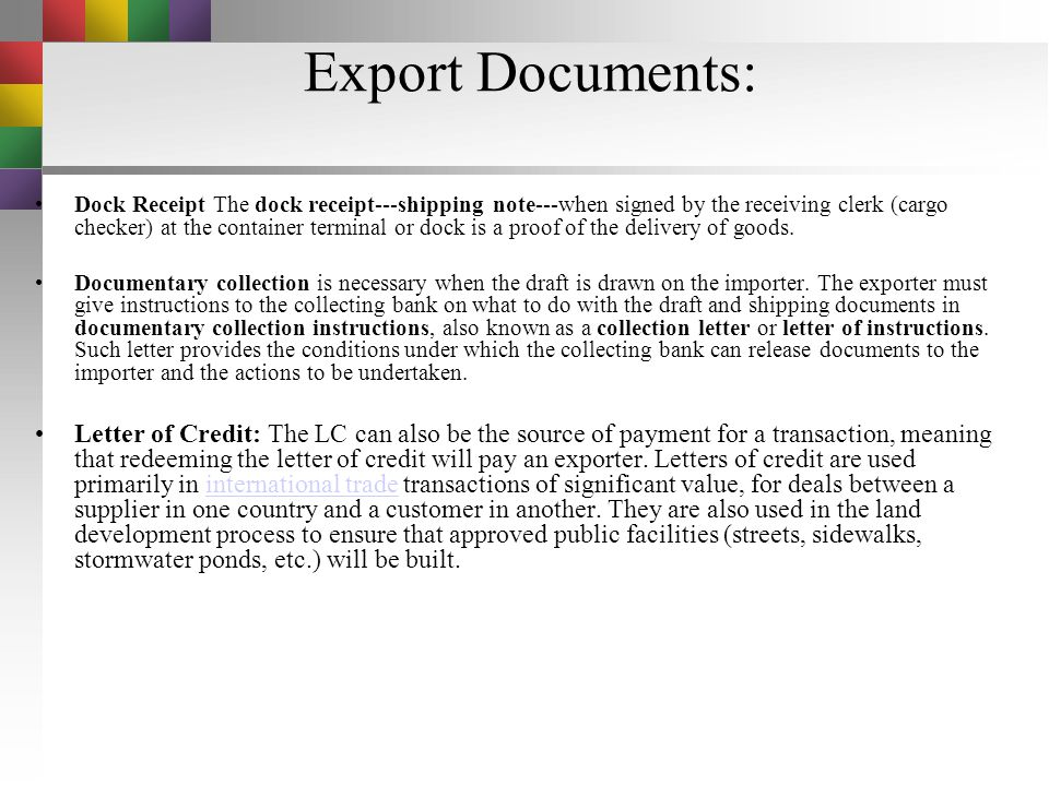 Export Documents: