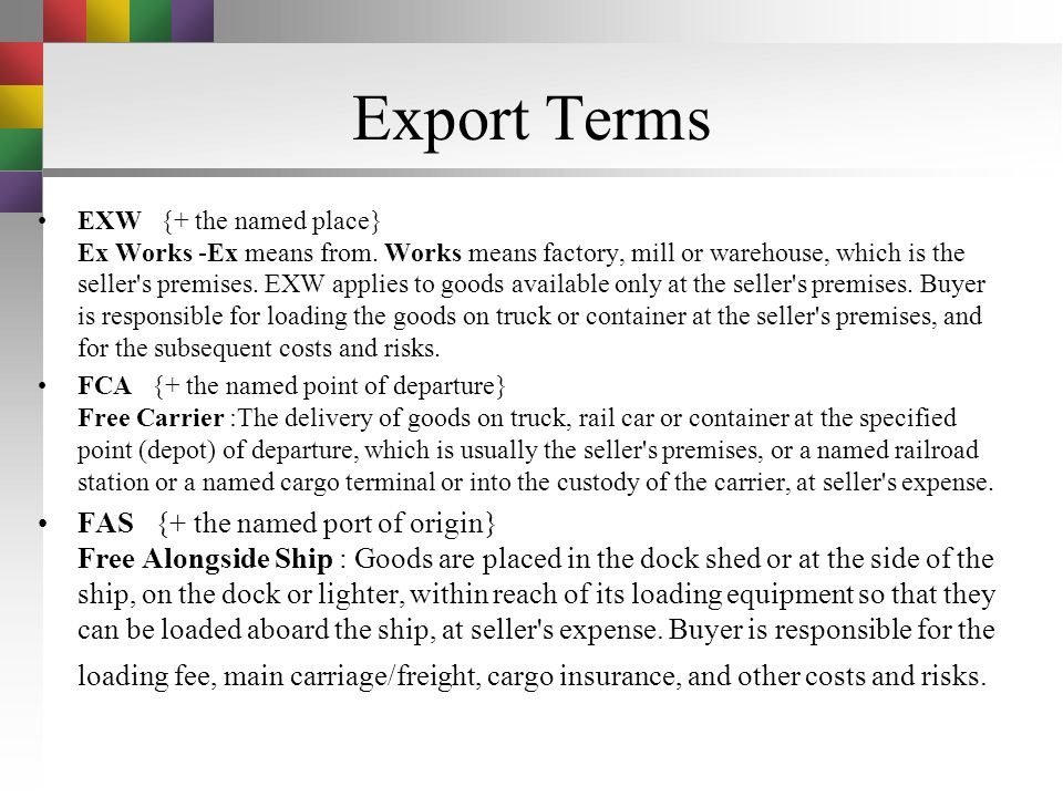 Export Terms