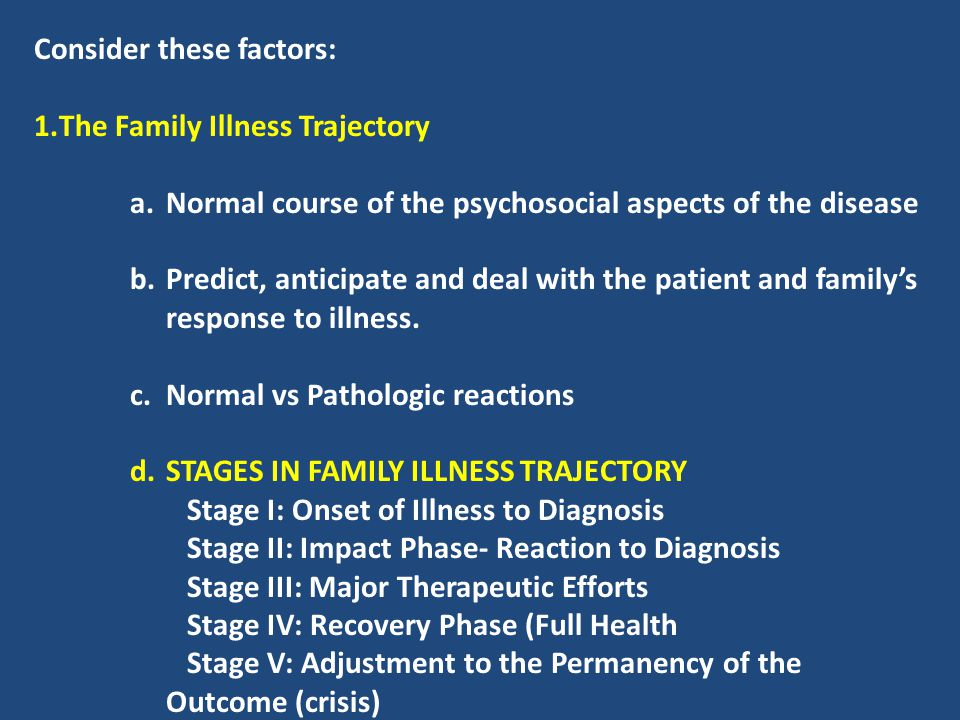 Consider these factors: The Family Illness Trajectory