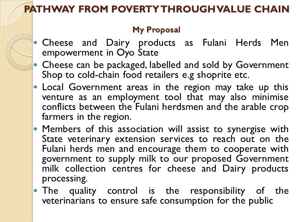 PATHWAY FROM POVERTY THROUGH VALUE CHAIN My Proposal