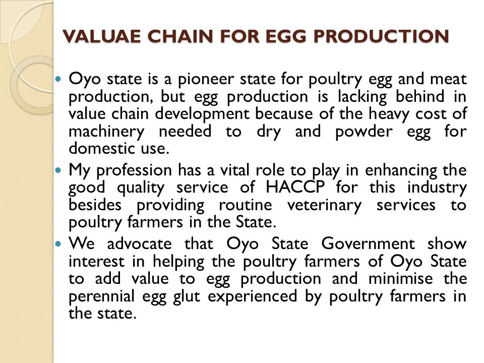 VALUAE CHAIN FOR EGG PRODUCTION