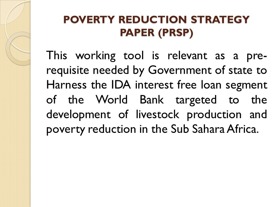 POVERTY REDUCTION STRATEGY PAPER (PRSP)