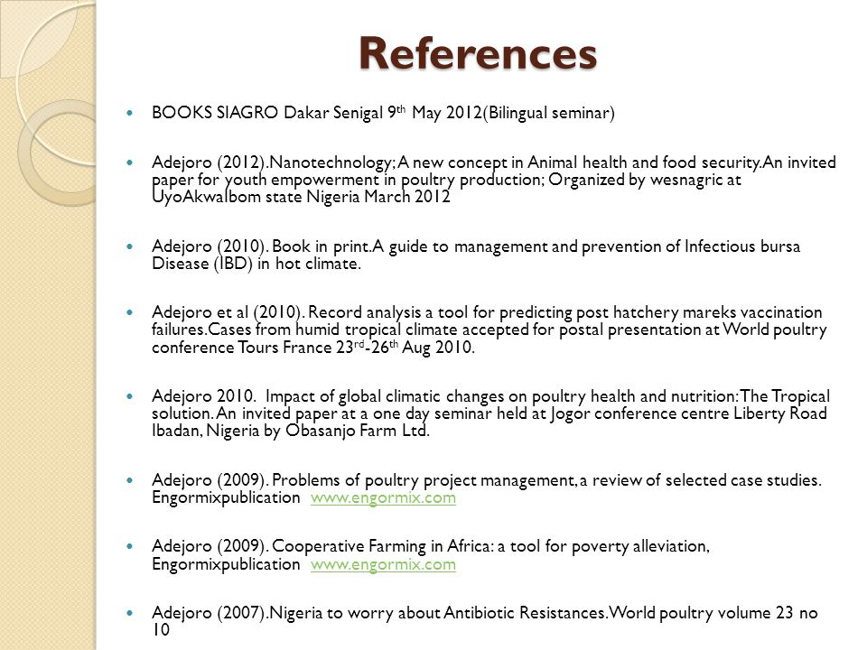 References BOOKS SIAGRO Dakar Senigal 9th May 2012(Bilingual seminar)