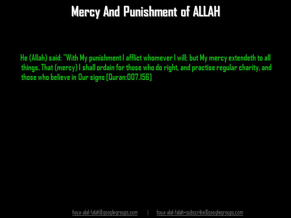 Mercy And Punishment of ALLAH