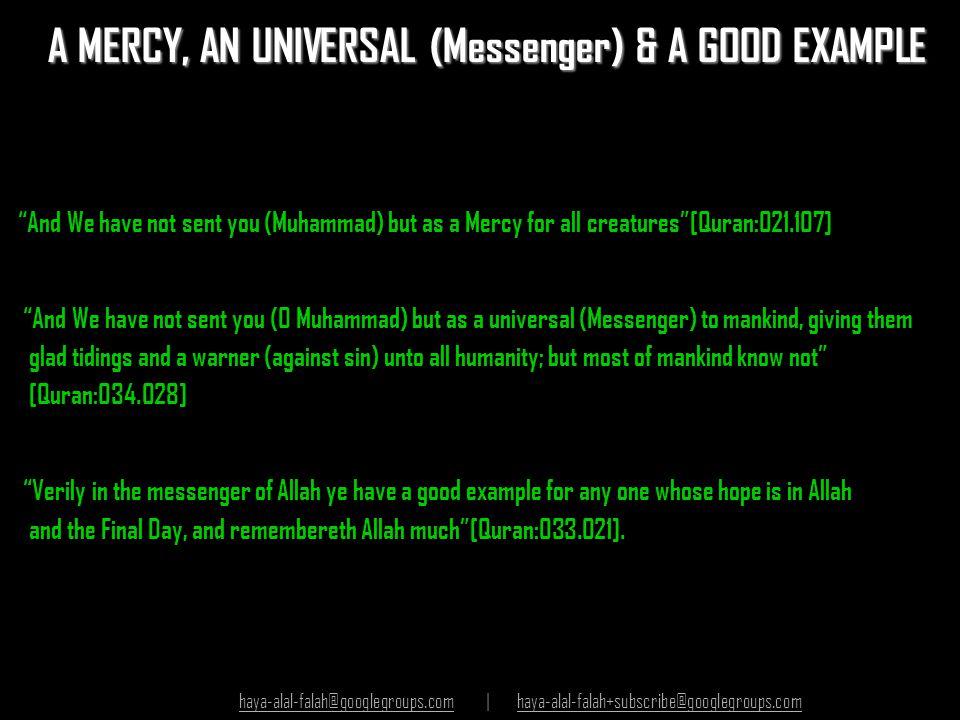 A MERCY, AN UNIVERSAL (Messenger) & A GOOD EXAMPLE