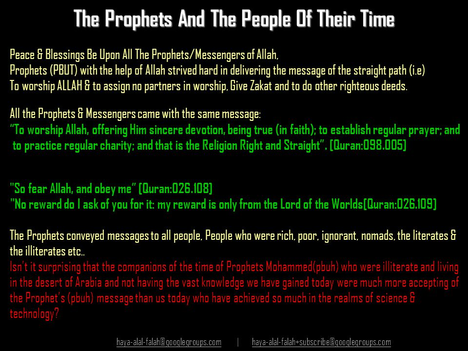The Prophets And The People Of Their Time