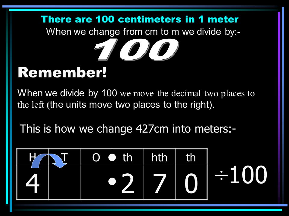 4 2 7 ÷100 100 Remember! This is how we change 427cm into meters:- H T
