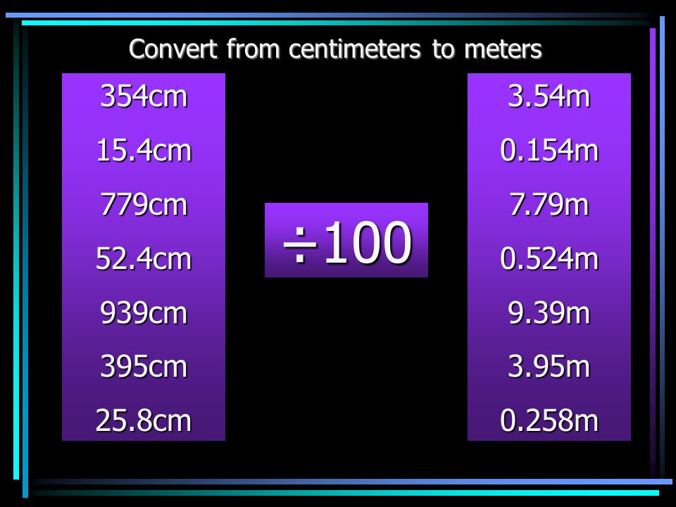 Convert from centimeters to meters