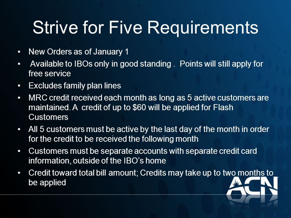 Strive for Five Requirements
