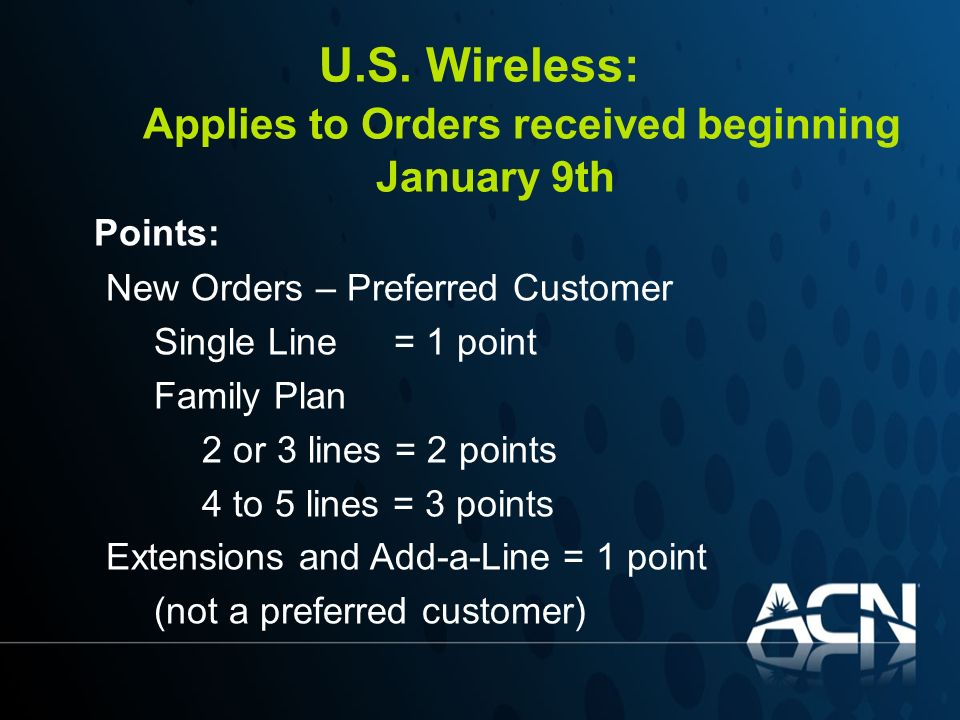 U.S. Wireless: Applies to Orders received beginning January 9th