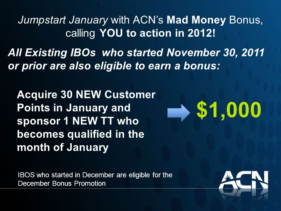 Jumpstart January with ACN's Mad Money Bonus, calling YOU to action in 2012!