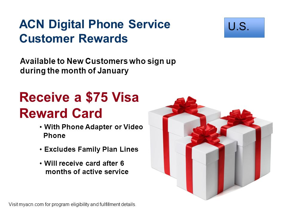 Receive a $75 Visa Reward Card ACN Digital Phone Service