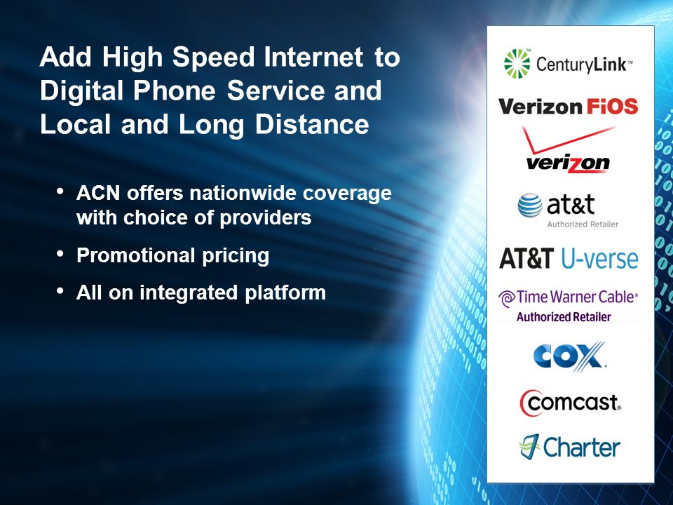 Add High Speed Internet to Digital Phone Service and Local and Long Distance