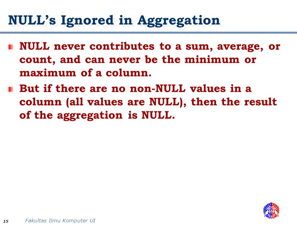 NULL's Ignored in Aggregation