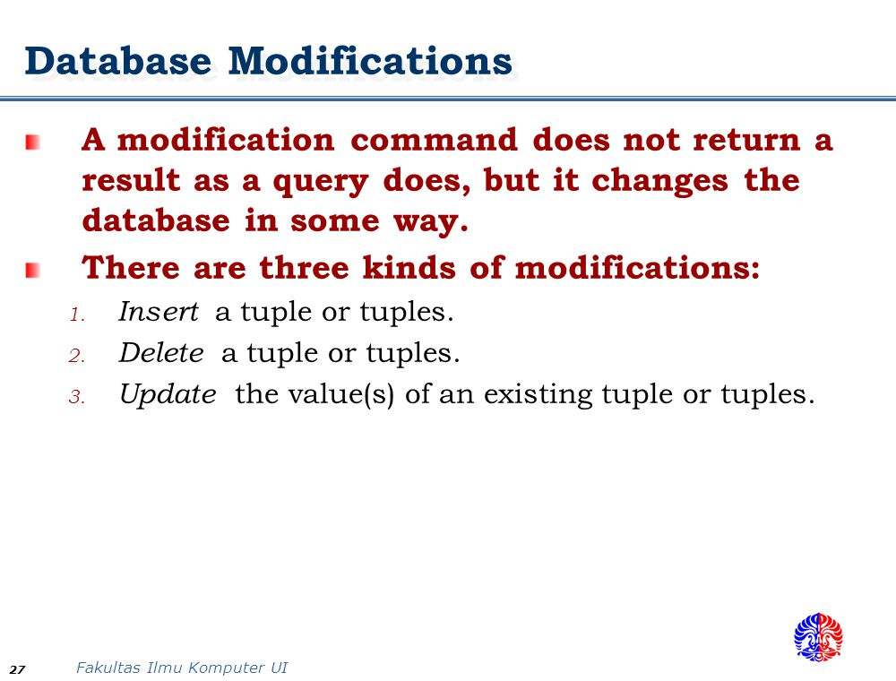 Database Modifications