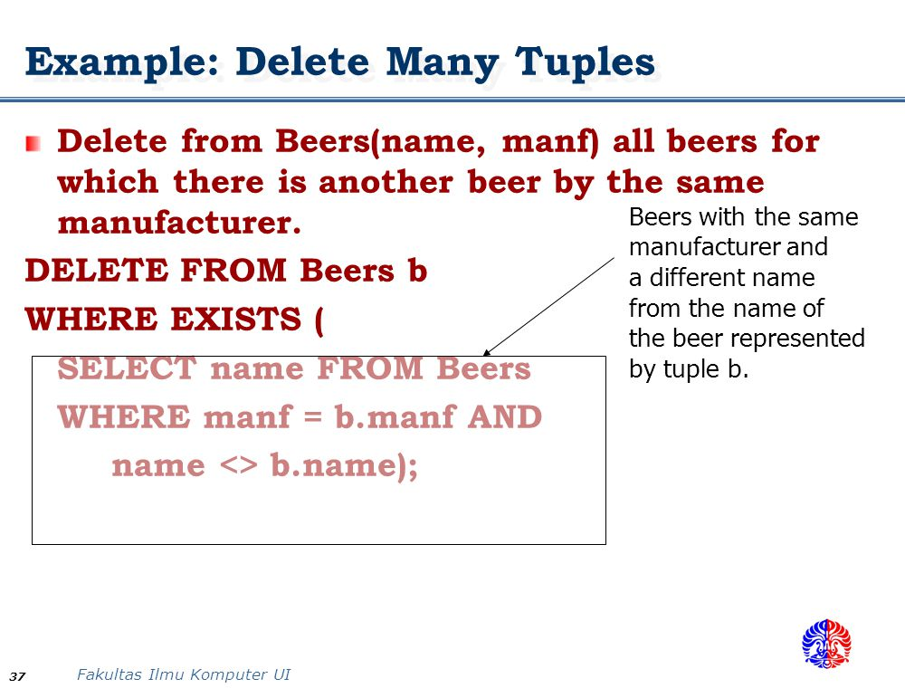 Example: Delete Many Tuples