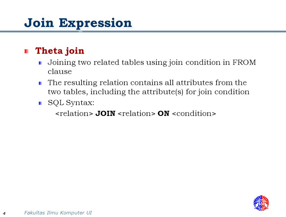 Join Expression Theta join
