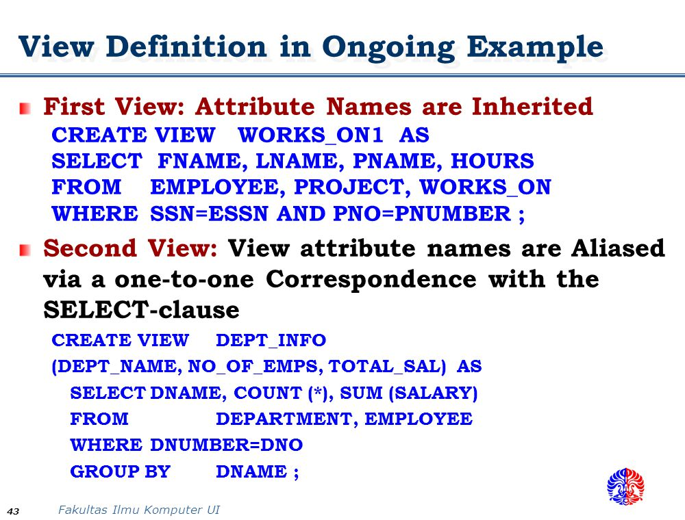 View Definition in Ongoing Example