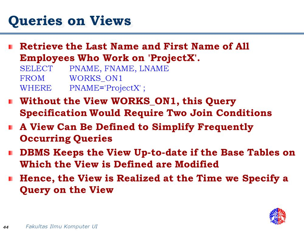 Queries on Views