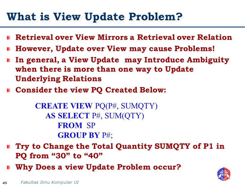 What is View Update Problem