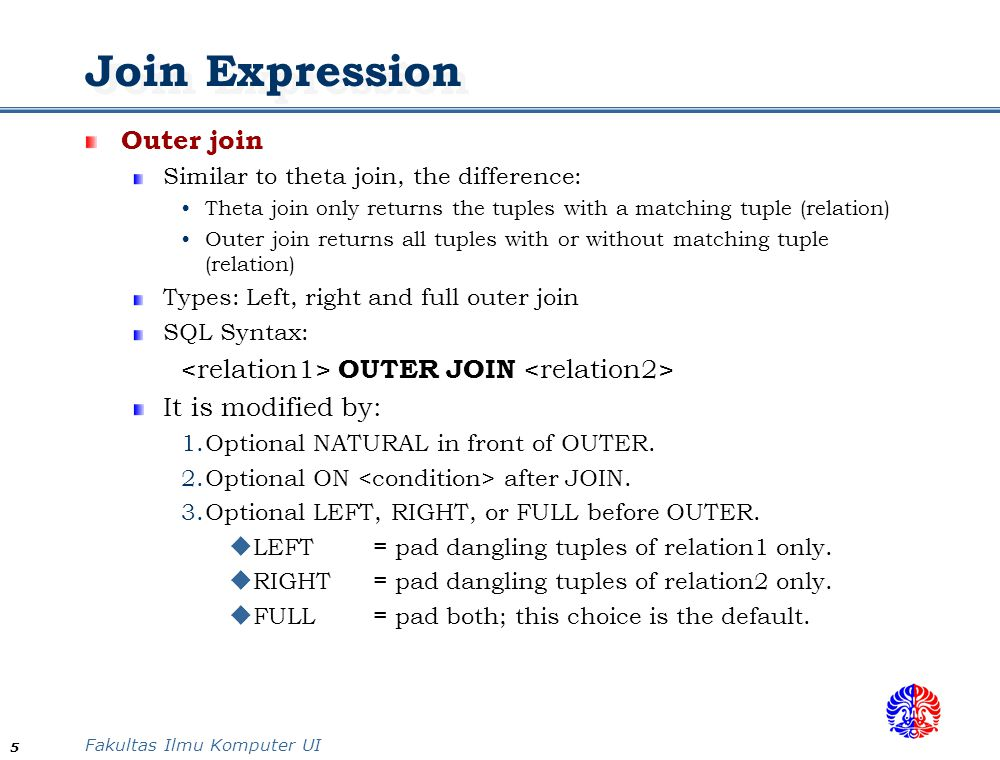 Join Expression Outer join