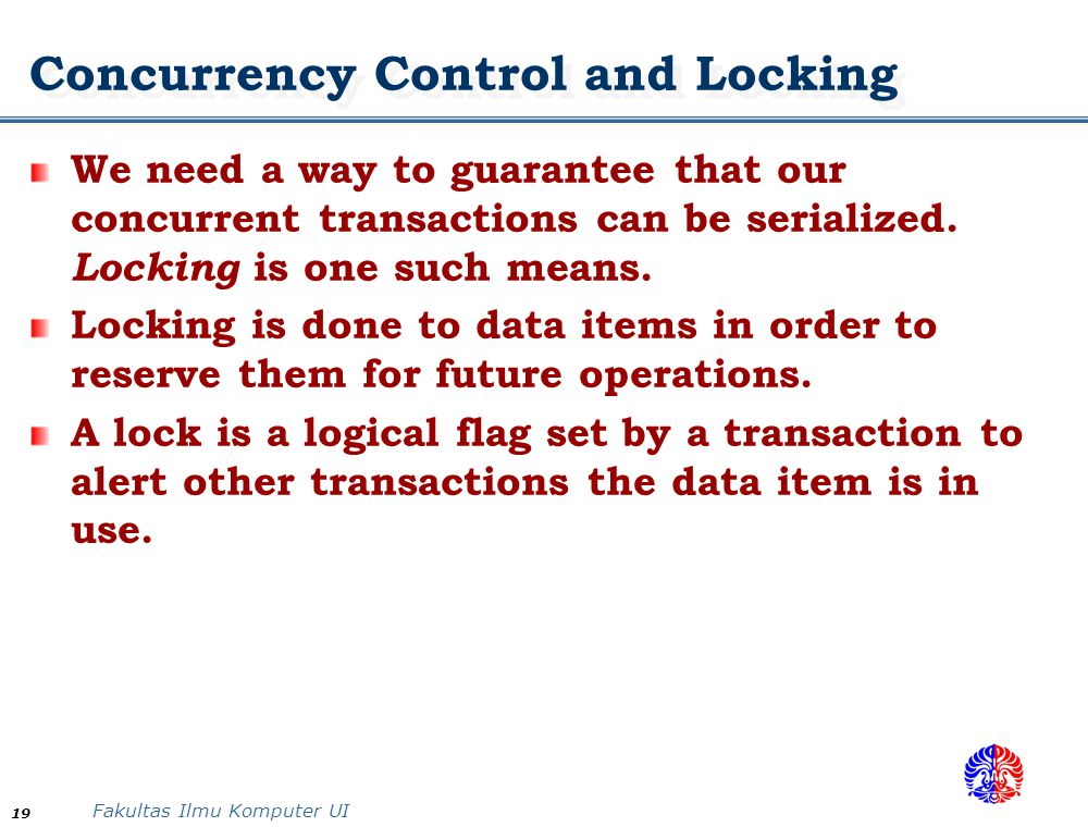 Concurrency Control and Locking
