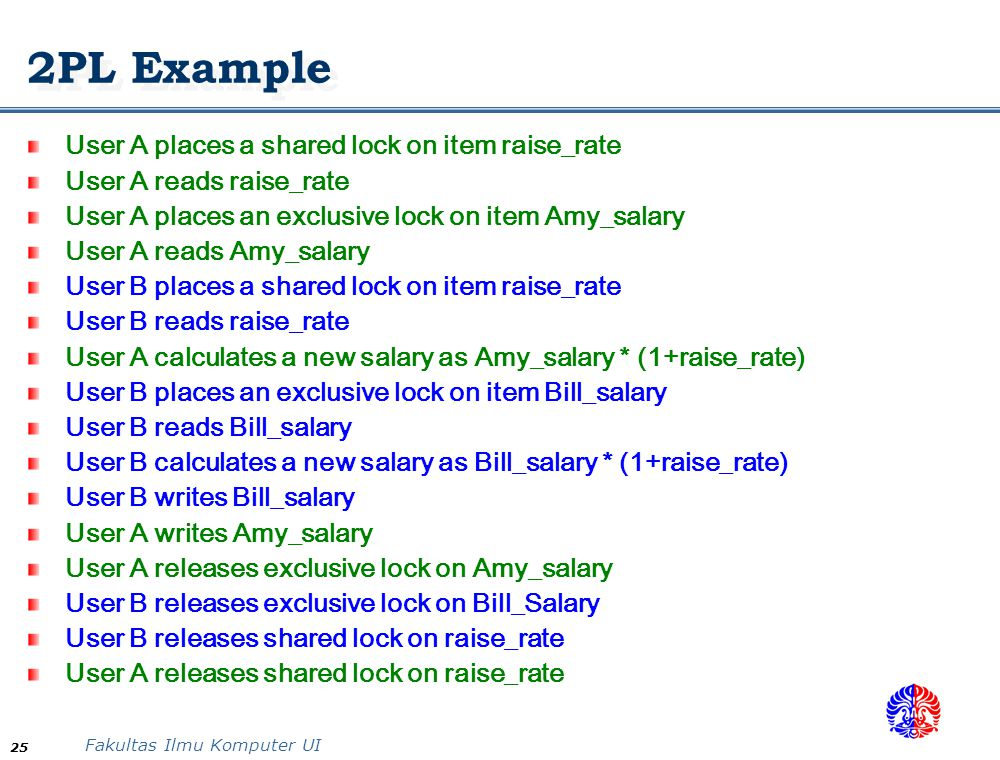 2PL Example User A places a shared lock on item raise_rate